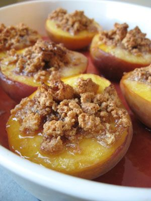 Baked peaches - slice fresh peaches in half. remove pit, sprinkle with brown sugar, cinnamon, and granola. drizzle with agave nectar. place on aluminum foil. bake at 375 for about 15 minutes.
