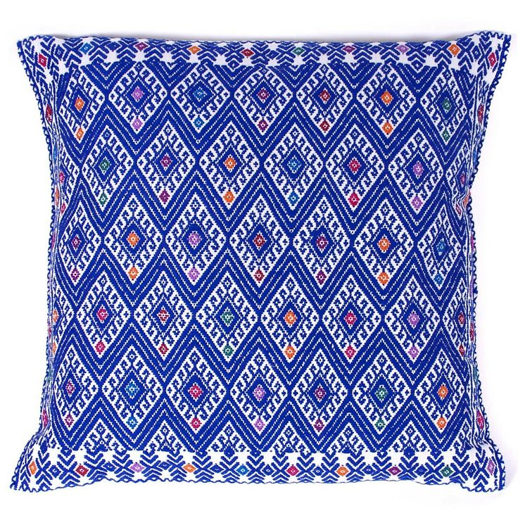 Hand embroidered azure pillow from chiapas mexican