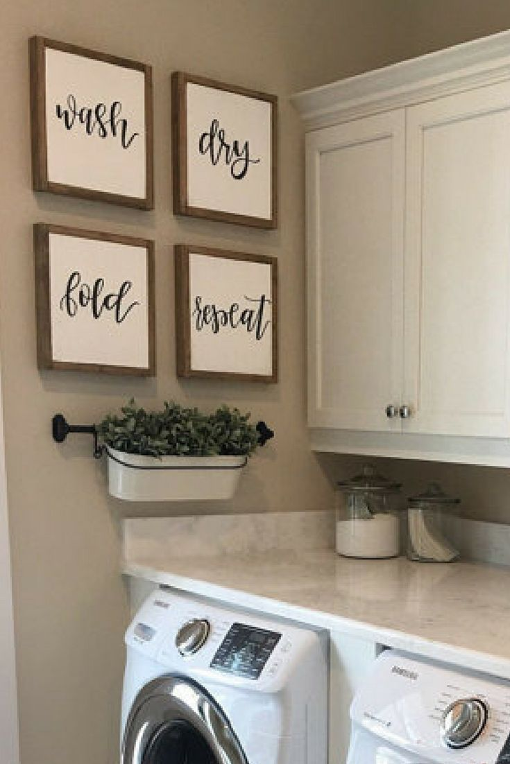 Set of four farmhouse wood signs for laundry room/mudroom. wash, dry, fold, repeat. #farmhouse #laundryroom #ad #etsy