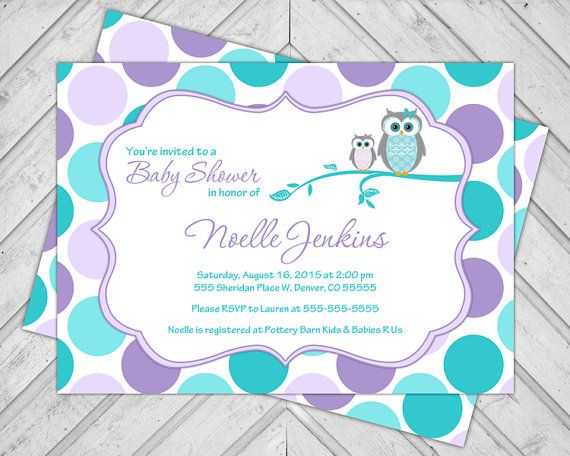 Unique Baby Shower Invitations For Girls With Owls In Purple And Teal Polka  Dots | Printable Or Printed   WLP00731