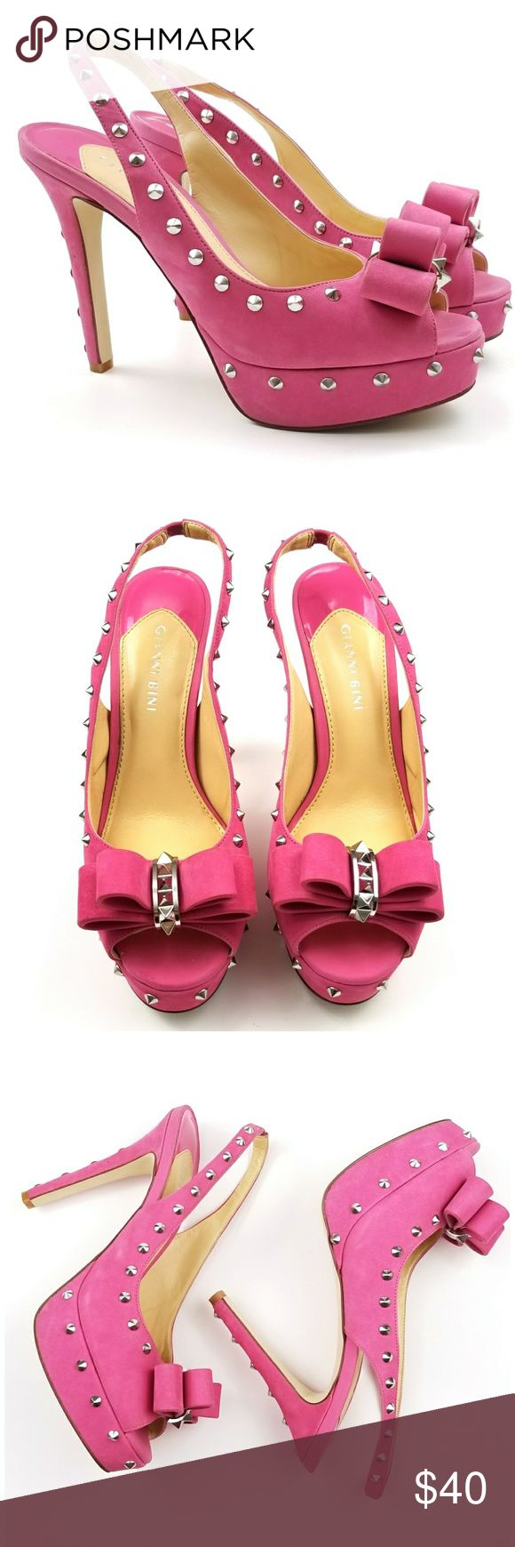 Gianni Bini Pink Studded Platfrom Gianni Bini, pink suede, studded, peep toe, platform, excellent condition, size 8.5. Gianni Bini Shoes Platforms