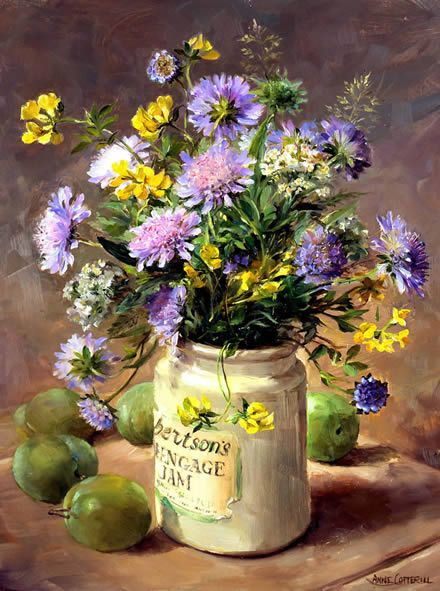 Scabious with Greengages - Blank Card by Anne Cotterill Flower Art