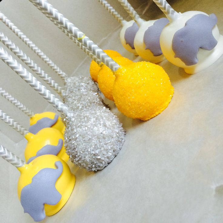 Yellow Grey and White elephant themed cake pops
