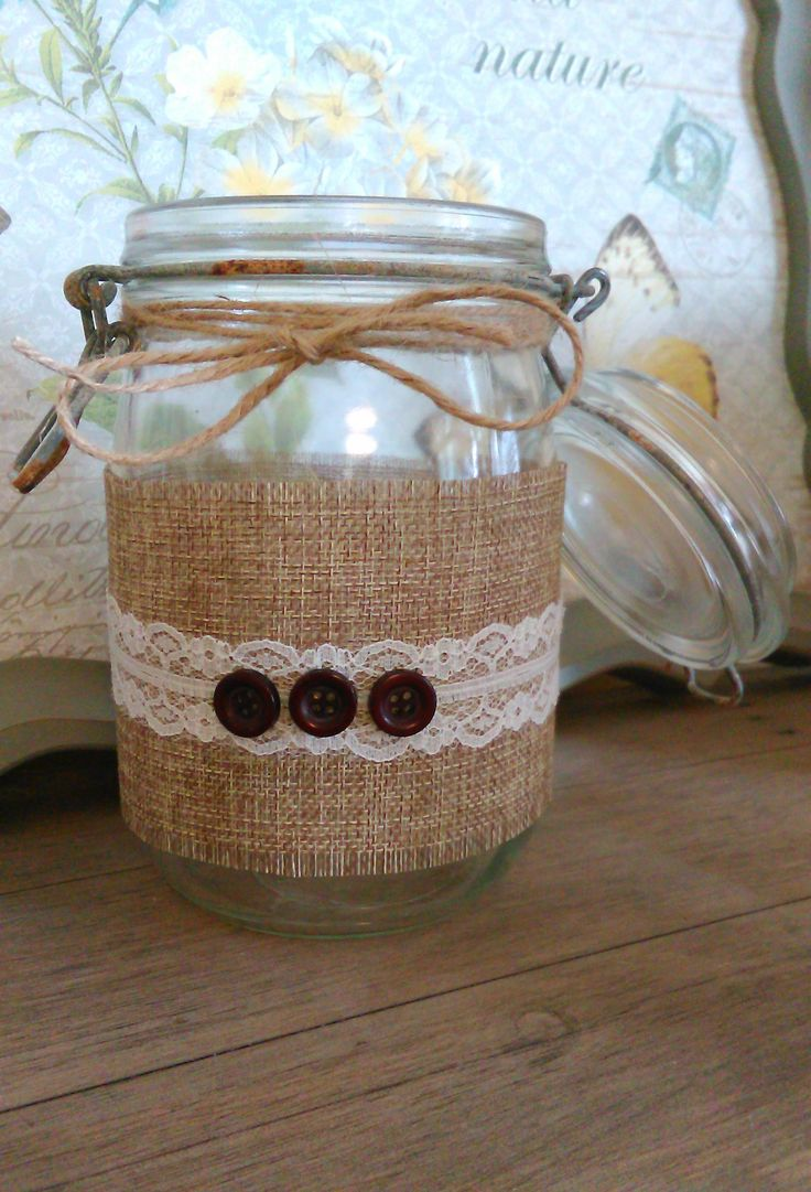 A jar, burlap and lace
