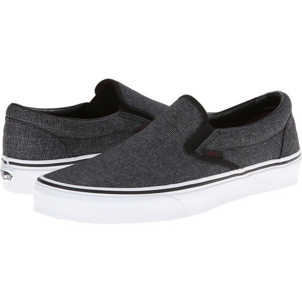 Vans Classic Slip-On Black) Skate Shoes ($31) ❤ liked on Polyvore featuring shoes, grey, black boat shoes, leather slip on shoes, slip-on shoes, slip on shoes and boat shoes