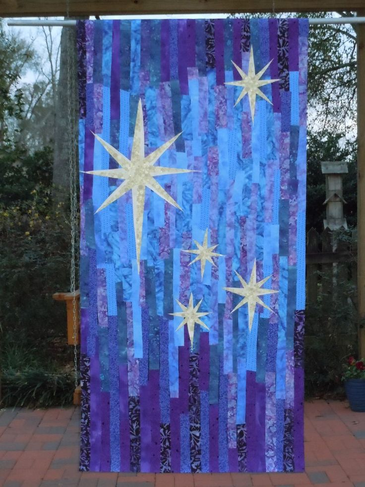 We could do something like this for an advent stole with a big star on one side and little stars on the other.