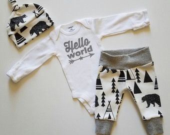 Baby Boy Coming Home Outfit. Hello World Stars and Arrows.