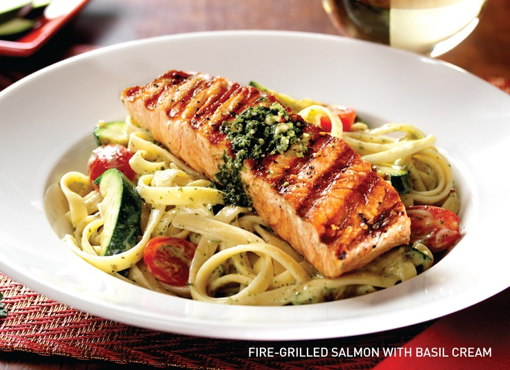 Fire Grilled Salmon in Basil Cream