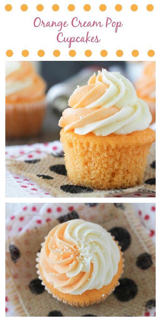 Crema de naranja magdalenas pop. A húmedos pastelitos de color naranja con una crema de vainilla y crema de mantequilla glaseado de naranja.