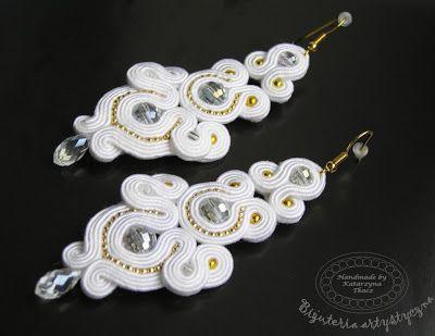 www.facebook.com/sutasz.decoupage Rękodzieło-biżuteria sutasz Handmade - Soutache jewellery. #wedding #white #earrings #kolczyki #slub