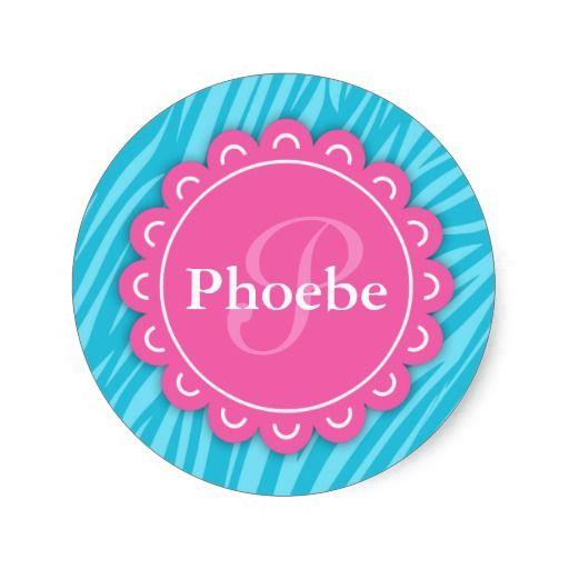 Pink modern flower monogram aqua blue zebra print classic round sticker