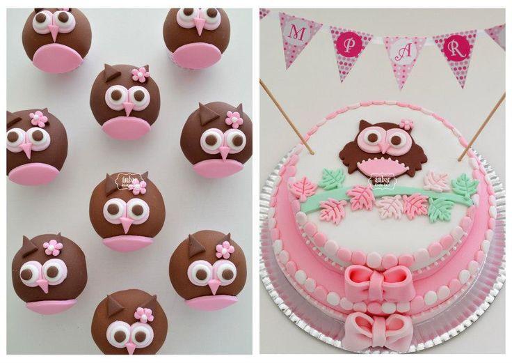 Torta y cupcakes *Lechuza* | manualidades | Pinterest