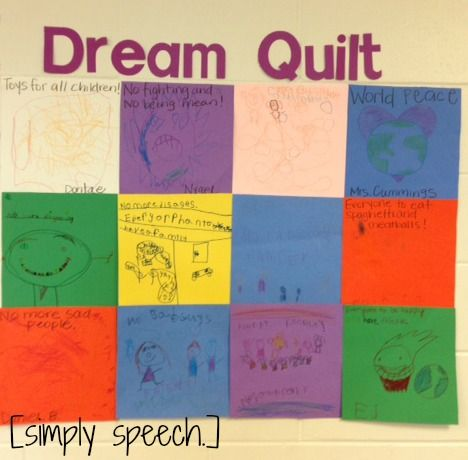 simply speech: We Can Dream Like Dr. Martin Luther King!-Dream Quilt for MLK Jr. Day. Pinned by SOS Inc. Resources.  Follow all our boards at http://pinterest.com/sostherapy  for therapy resources.: