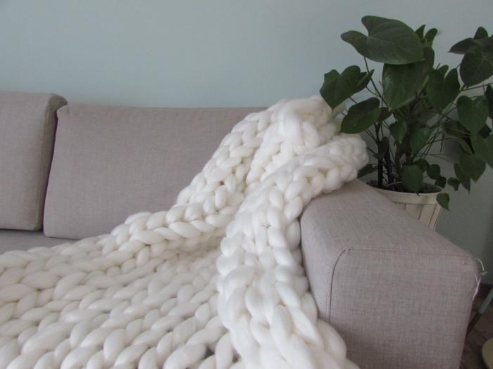 Paturica giganto Off White 120x120 - chunky knit blanket <3