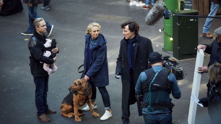 SHERLOCK (BBC) ~ S4 behind-the-scenes photo: Martin Freeman, Amanda Abbington, Benedict Cumberbatch