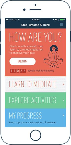 Stop, Breathe & Think - iOS, Android, Online, Slack, Alexa - guides you through meditation, how to practice mindfulness and compassion, tracks your progress