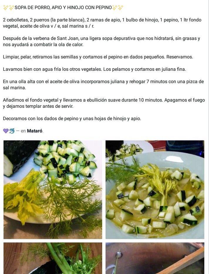 Pin De Angels Neus En Saludable Sopa Depurativa Vegetal Puerro