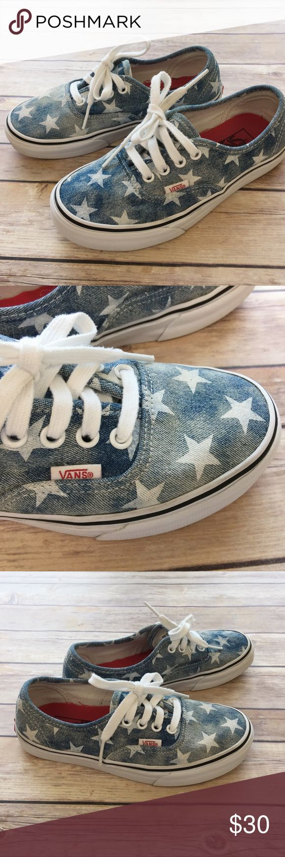 Vans: Chambray Star Vans Vans  Size:    Women's:  6.0    Men:  4.5  Chambray Star Vans in very good condition. This item has a distressed look to the chambray fabric. The chambray color is uneven and this is not a manufacturer defect, but the look of the item. There is the slightest wash wear, however they were only washed once prior to sale and on delicate.   The shoes are freshly washed and clean. There is very little wear to the soles.   I will package perfectly and with love…