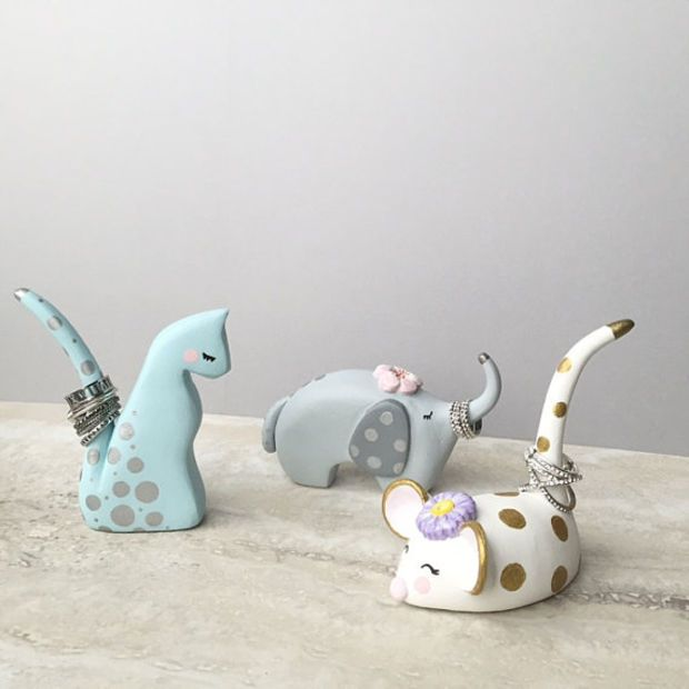 Animal Ring Holder, Hand Painted Clay Sculptures, Unique Gifts, Lucky Elephant, …