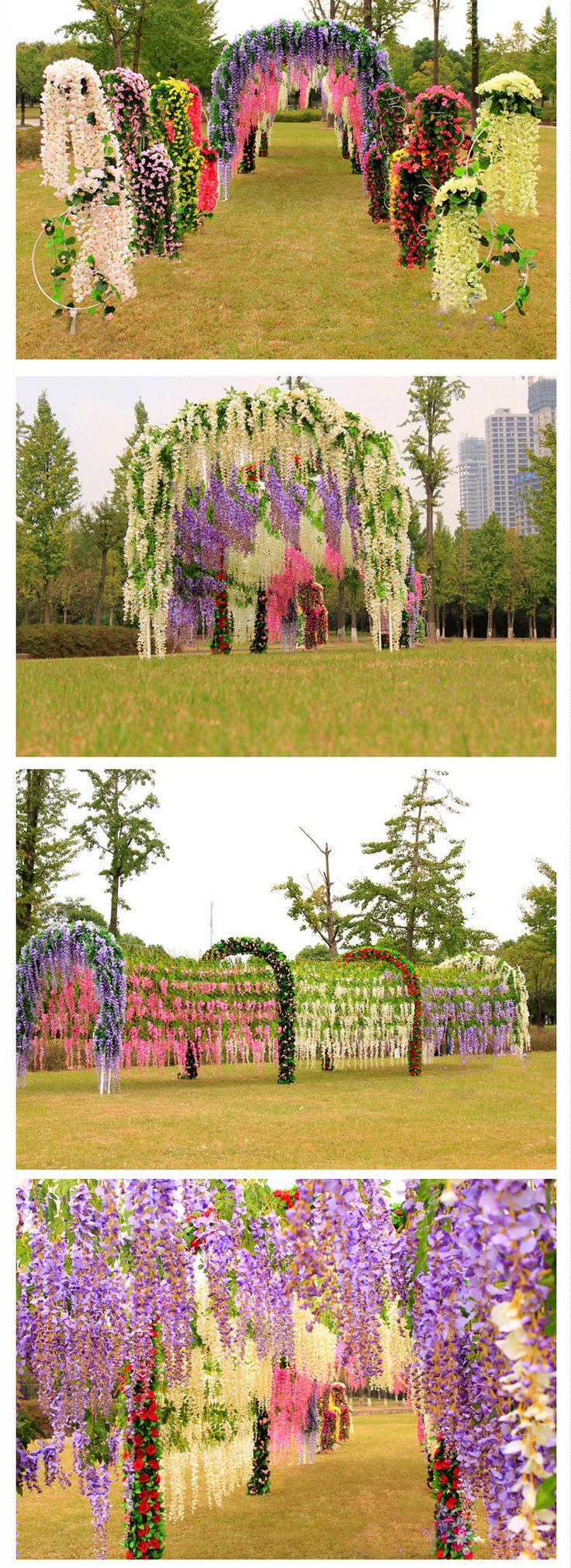 wedding decoration wisteria silk Ceiling Decor white purple fuchsia