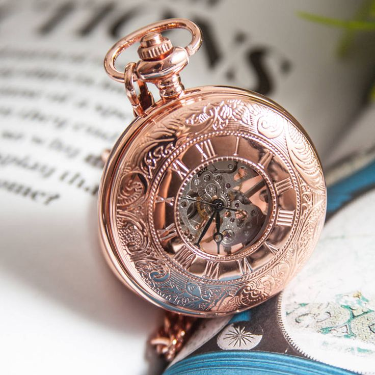 Rose Gold Mechanical Personalised Pocket Watch