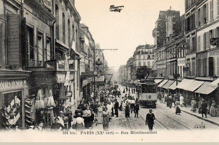 L'animation de la rue de Ménilmontant, vers 1910  (Paris 20ème)