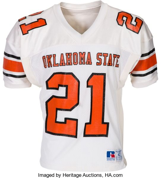 Football Collectibles:Uniforms, 1986-88 Barry Sanders Game Worn Oklahoma State Cowboys Jer...