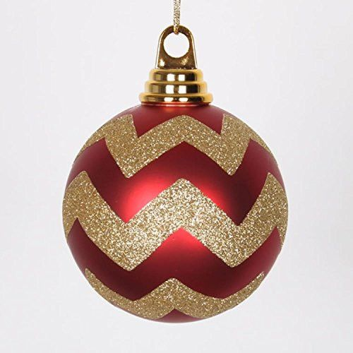 Felices Pascuas Collection Red Matte and Gold Glitter Chevron Shatterproof Christmas Ball Ornaments 4 inch (100mm)