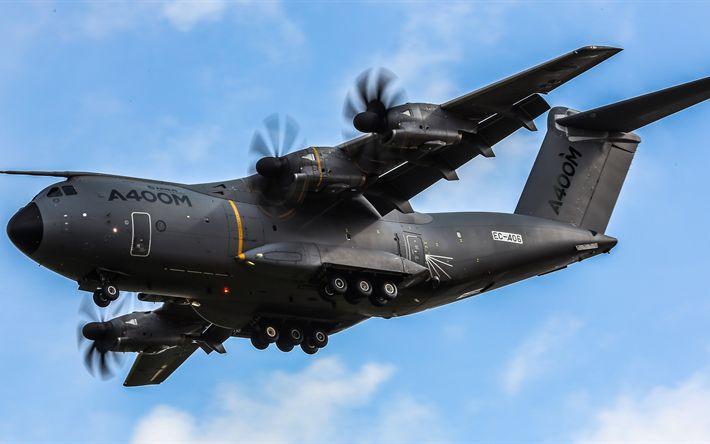Descargar fondos de pantalla 4k, Airbus A400M Atlas, aviones militares, avión de carga, Airbus