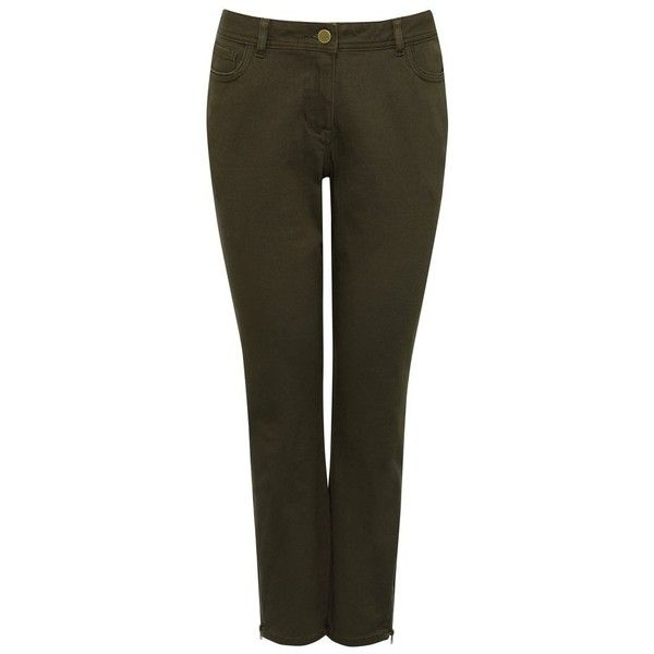 M&Co Zip Hem Ankle Grazer Jeans (£12) ❤ liked on Polyvore featuring jeans, khaki, zip jeans, stretchy jeans, zipper jeans, stretchy skinny jeans and khaki skinny jeans