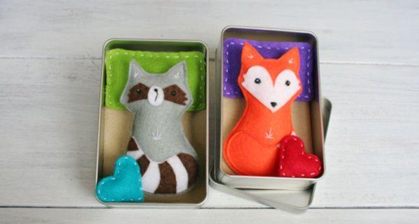 Fuchs und Waschbär in Schlafdose / Fox and racoon in sleeping box Upcycling