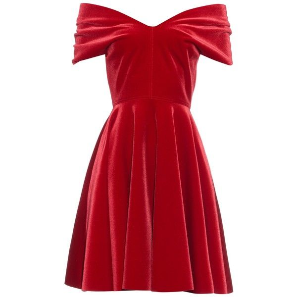 Emilio De La Morena Off-the-shoulder velvet mini dress (£600) ❤ liked on Polyvore featuring dresses, red, short sleeve dress, red vintage dress, vintage dresses, red party dresses and short red dress