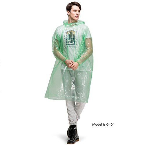 Premium Eco-Friendly Disposable Rain Poncho with Full Sleeves and Hood [10 Pack of Assorted Colors] - Perfect for Amusement Parks, Hiking, Camping, Emergency Kits
