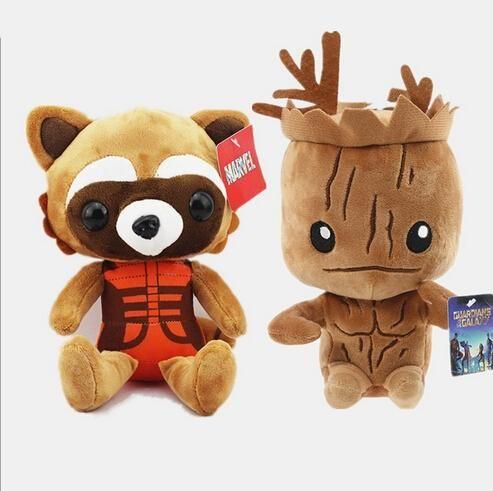 100шт Стражи Галактики Дерево Люди Грот Реактивный Енот Чучела Животных Плюшевые Куклы Для Детей
