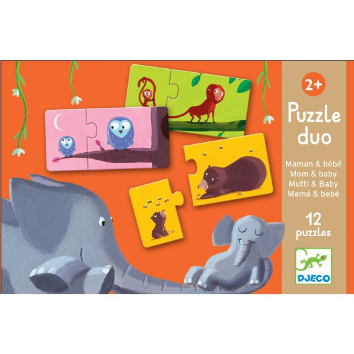 Duo Puzzle Mum and Baby by Djeco A great little box of 12 very, very sturdy 2 piece puzzles. One piece shows the Mummy, the other the baby, and the challenge is to match them up and put them together!This is an excellent first puzzle for children!Mum and Baby Puzzle Duo comes in a box which is 18cm x 12cm x 6cm
