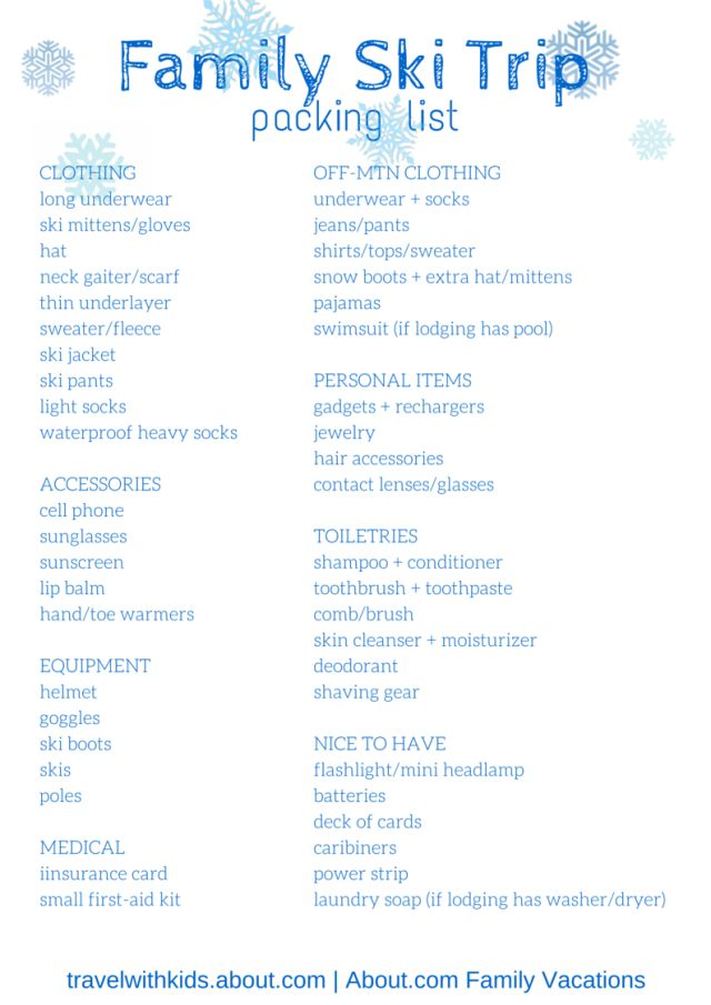 Free Printable Packing List for Family Ski Trips | About.com Family Vacations #packinglist #printable