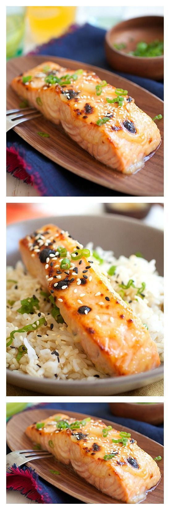 15 Minute Miso-Glazed Salmon. Give Your Regular Salmon a Makeover by Adding Japanese White Miso -  You Will Love This Quick and Easy Recipe that Takes Only 15 Minutes! #healthy #quick #easyrecipes