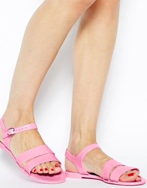 Enlarge Juju Seven Baby Pink Exclusive Flat Jelly Sandals