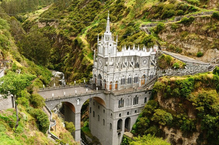 Las Lajas Sanctuary, Colombia. Built between 1916 and 1949, this wondrous basilica church stands on a canyon in southern Colombia. This gorgeous structure surrounded by a pool of green is both striking and mystical.