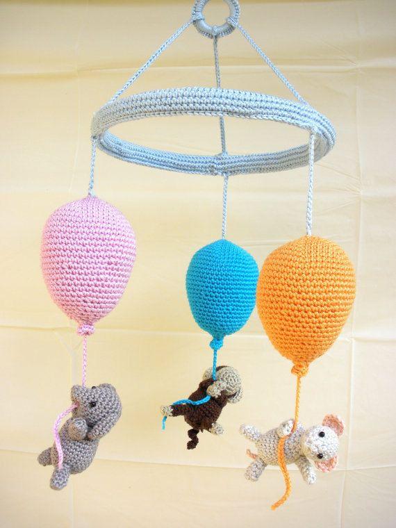 Balloons baby mobile Crib Mobile Crochet от Crochetonatree