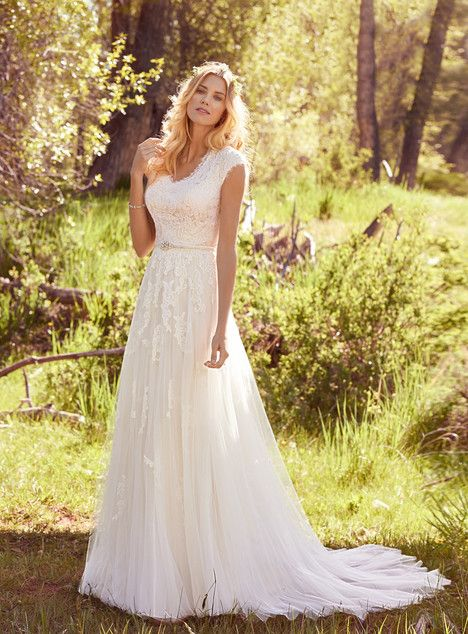 Ashley dress (Sheath, V-Neck, Cap Sleeves, Cap Sleeve) from Maggie Sottero 2017, as seen on sanlilies.bride.ca. Click for Similar & for Store Locator.