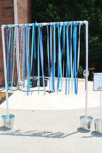 Wheely Fun Party. Streamers hanging for part of obstacle course at H's bicycle party.