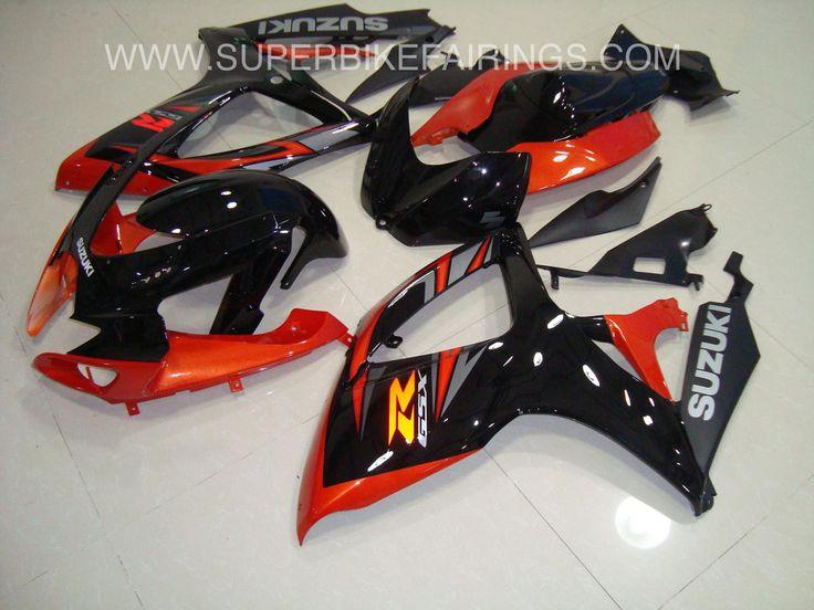 2006-2007 GSXR-600 750 Black & Orange Suzuki Fairings