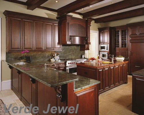 Hunter Kitchen Cabinets ~ This granite is called verde jewel the colors in