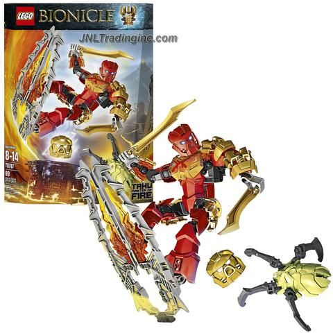Lego Year 2015 Bionicle Series 8 Inch Tall Figure Set #70787 - TAHU Master of Fire with Golden Swords, Lava Surfboard, Bashing Battle Arm, Fire Golden Mask and Skull Spider (Total Pieces: 89)
