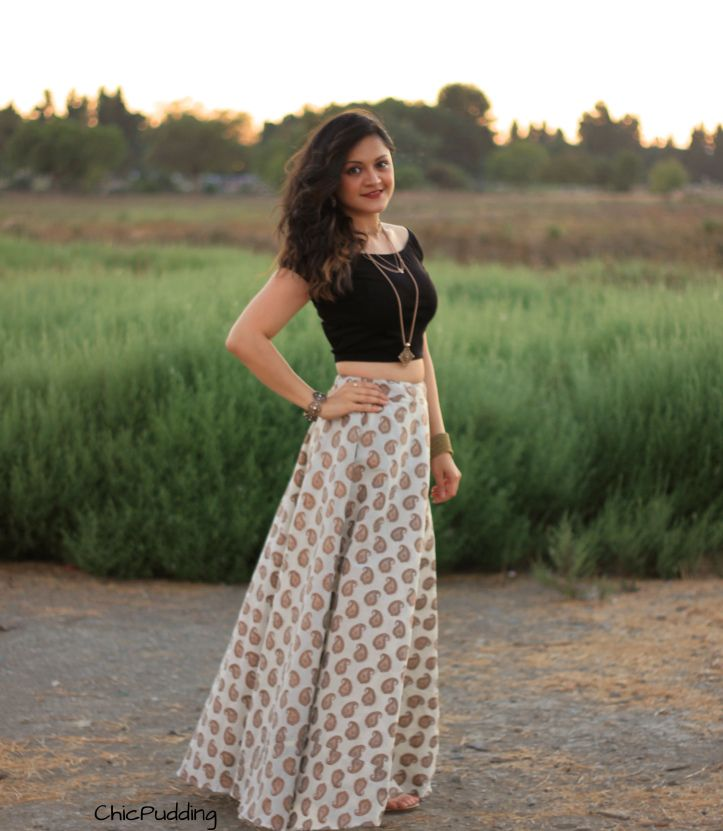Indian Lehenga Skirt and Black crop top! #black #beige #brocade #golden #festivals #festivewear #diwali