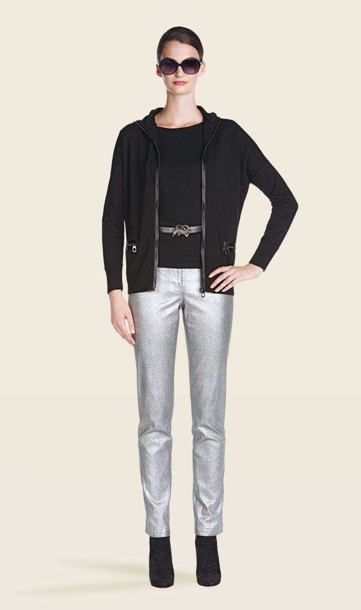 Triumph black jacket, Comet silver metallic jean | Carlisle Collection | Per Se | Collections | Lookbook | Per Se | Holiday 2013 | 3