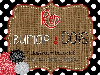 This shabby chic kit includes all that you will need to decorate your classroom with a bright red, burlap, and black and white polka dotted theme. It includes pops of chrysanthemums to make a bright and fun learning environment for your students. Included in this 127 page file is a zipped file which contains: -1-31 calendar
