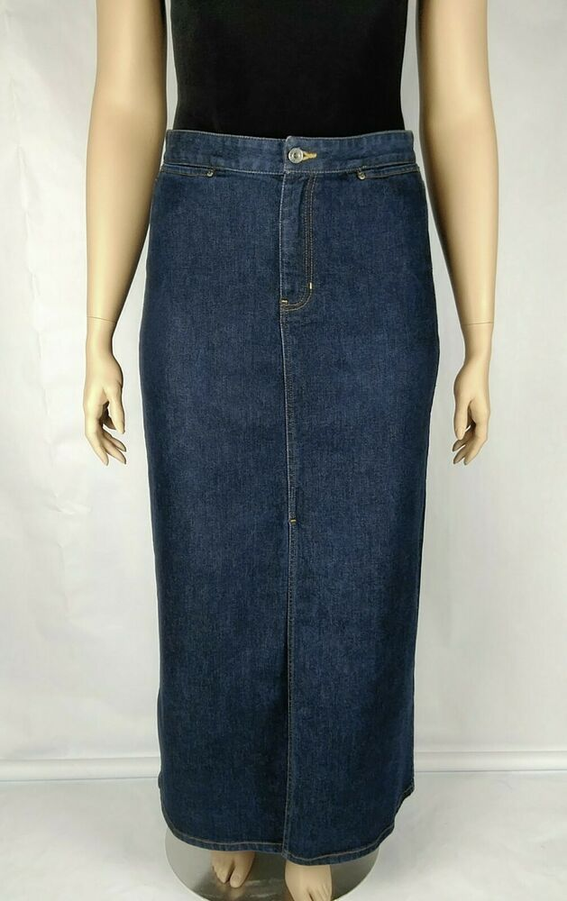 6887f9a574 Gap Womens Denim Skirt Long Stretch Size 14 Dark Wash Blue Front Slit Maxi  #fashion #clothing #shoes #accessories #womensclothing #skirts (ebay link)