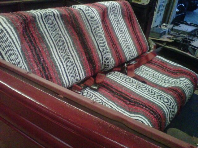 hotrod seats carved from high density foam and covered in mexican blanket my car obsession. Black Bedroom Furniture Sets. Home Design Ideas